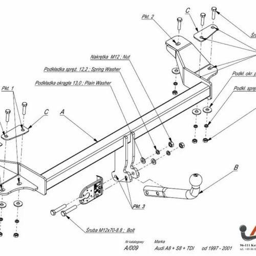 Фаркоп Imiola A.009 Audi A8, Audi S8 1994-2001