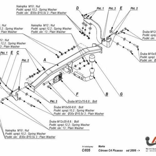 Фаркоп Imiola C.035 Citroen C4 Picasso 2007-2013 / Citroen C4 Grand Picasso 2006-2013 / Peugeot 5008 2009-2017