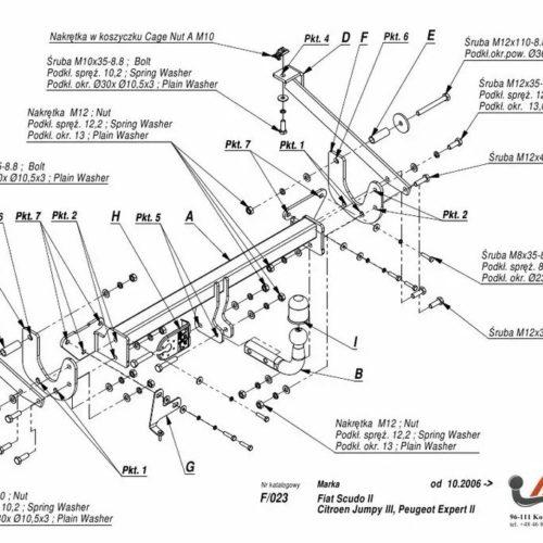 Фаркоп Imiola F.023 Citroen Jumpy II 2007-2016, FIAT Scudo II 2007-2016, Peugeot Expert II 2007-2016, Toyota ProAce 2013-2016