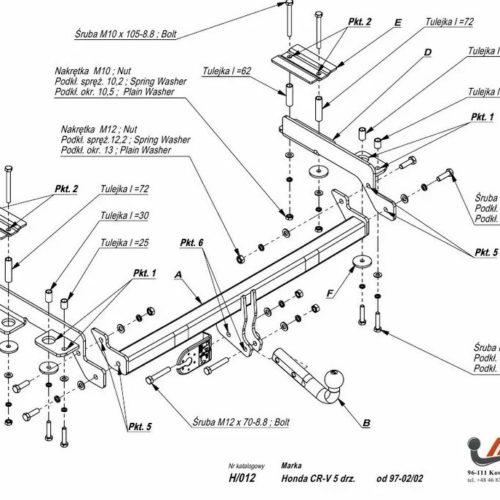 Фаркоп Imiola H.012 Honda CR-V 1997-2002