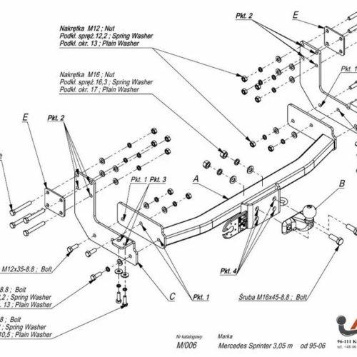 Фаркоп Imiola M.006 Mercedes Sprinter 3050 мм фургон 1995-2006 / Volkswagen LT 28-35 3050 мм 1995-2006